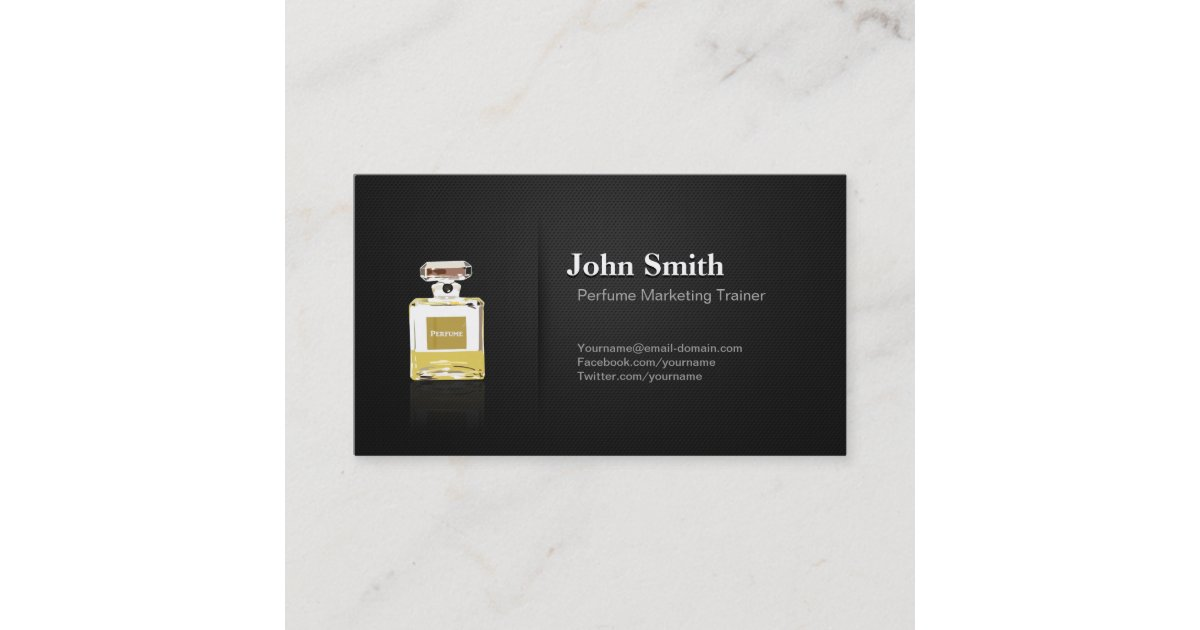Perfume Marketing Trainer - Professional Black Business Card ...