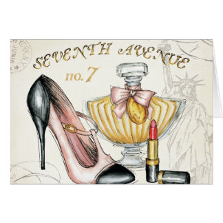 Perfume, Red Lipstick, and a High Heeled Shoe Card