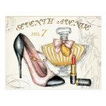 Perfume, Red Lipstick, and a High Heeled Shoe Postcard