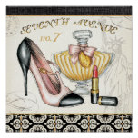 Perfume, Red Lipstick, and a High Heeled Shoe Poster