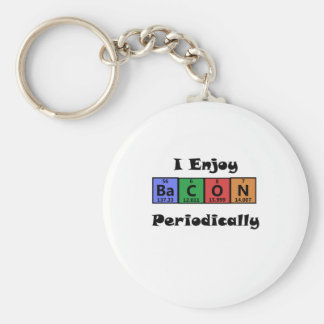 Periodic Table Bacon Science Chemistry Funny Basic Round Button Key Ring