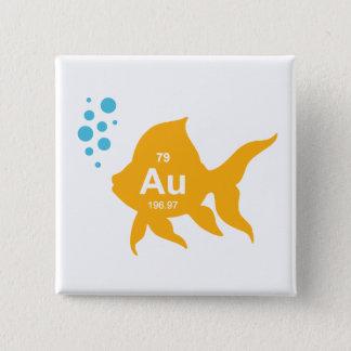 Periodic Table Elemental Gold Fish 15 Cm Square Badge