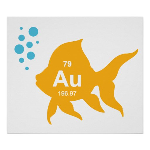 Periodic Table Elemental Gold Fish Posters
