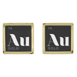 Periodic Table Elements Cuff Links // Gold Gold Finish Cuff Links