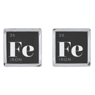 Periodic Table Elements Cuff Links // Iron Silver Finish Cufflinks