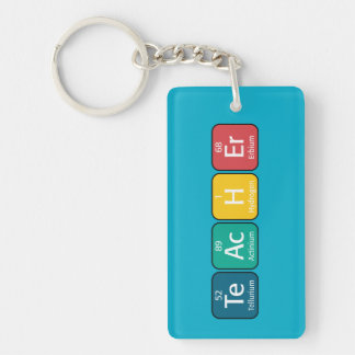 Periodic Table Elements Spelling Teacher Double-Sided Rectangular Acrylic Key Ring