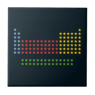 Periodic table in stars small square tile