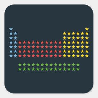 Periodic table in stars square sticker