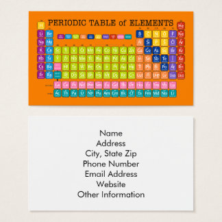 Periodic Table of Elements Business Card