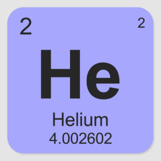 Periodic Table of Elements Helium Square Stickers