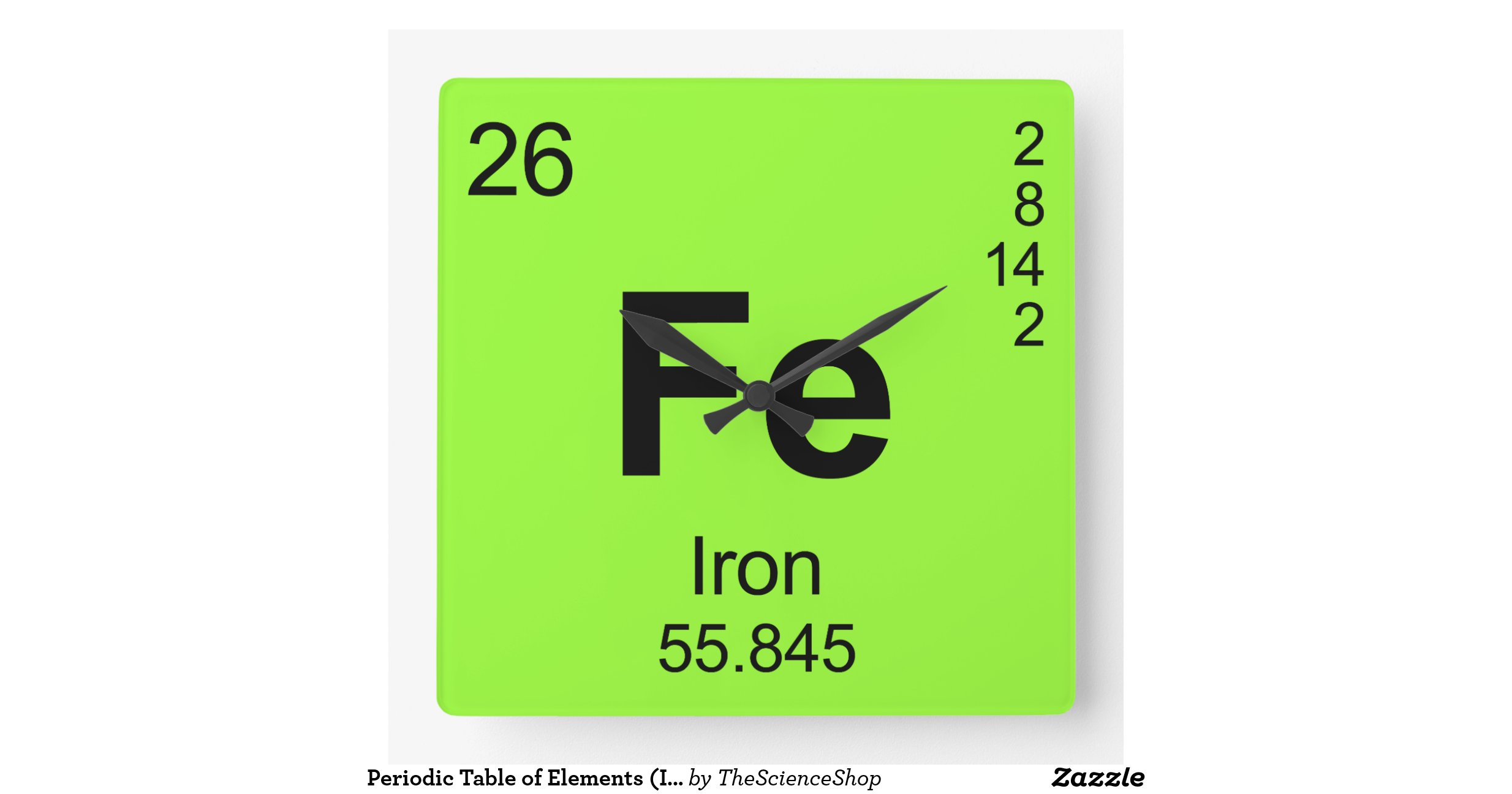Periodic table of elements iron clocks zazzle - Iron on the periodic table ...