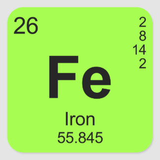 Periodic Table of Elements Iron Square Sticker