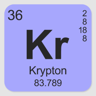 Periodic Table of Elements Krypton Square Sticker
