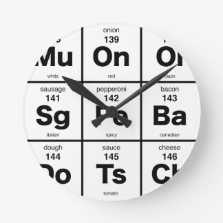 Periodic Table of Pizza Ingredients Round Clock