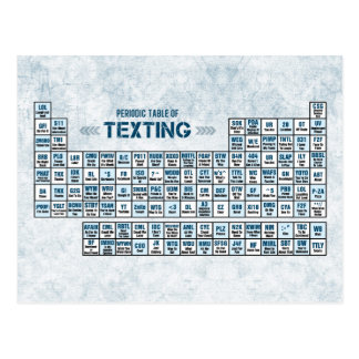 Periodic Table of Texting Blue Postcards