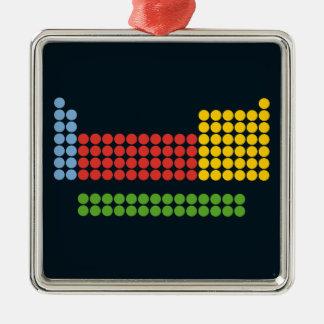 Periodic table square metal christmas ornament