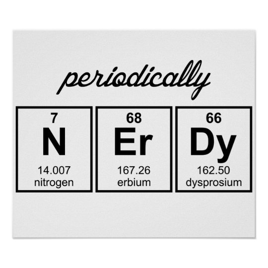 Periodically Nerdy Element Symbols Poster