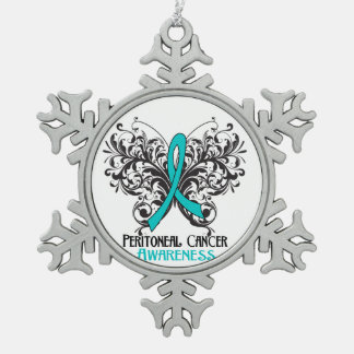 Peritoneal Cancer Awareness Butterfly Pewter Snowflake Decoration