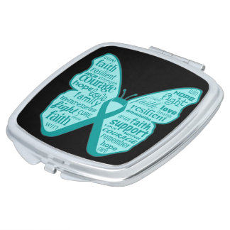 Peritoneal Cancer Butterfly Collage of Words Compact Mirrors