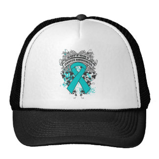 Peritoneal Cancer - Cool Support Awareness Slogan Mesh Hat