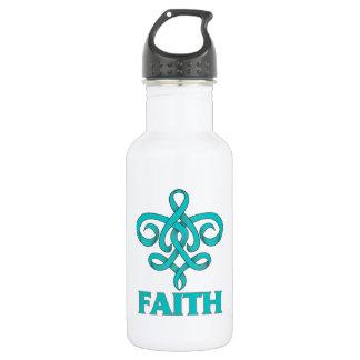 Peritoneal Cancer Faith Fleur de Lis Ribbon 532 Ml Water Bottle