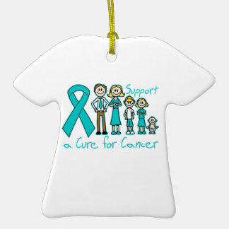 Peritoneal Cancer Family Support A Cure Double-Sided T-Shirt Ceramic Christmas Ornament