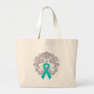 Peritoneal Cancer Fight Like A Girl Fleurish Tote Bags