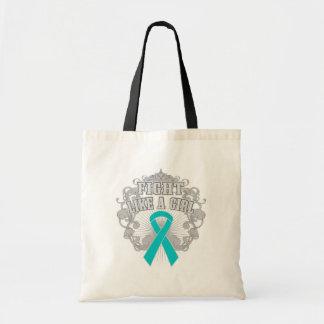 Peritoneal Cancer Fight Like A Girl Fleurish Budget Tote Bag