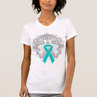 Peritoneal Cancer Fight Like A Girl Fleurish T-shirts