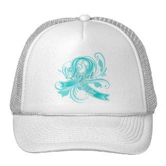 Peritoneal Cancer Fight Like a Girl Flourish Hat