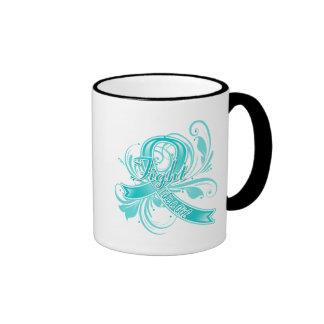 Peritoneal Cancer Fight Like a Girl Flourish Coffee Mug