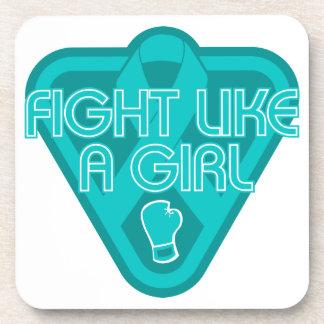 Peritoneal Cancer Fight Like A Girl Glove Coasters