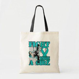 Peritoneal Cancer Fight Like A Girl Kick Tote Bag