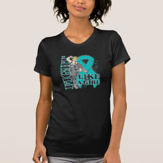 Peritoneal Cancer Fight Like A Girl Kickin Butt T-shirts