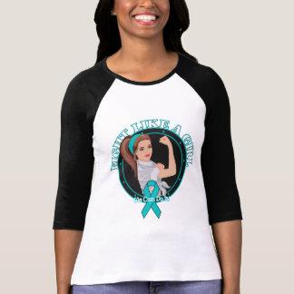 Peritoneal Cancer Fight Like A Girl Modern Rosie Tshirt