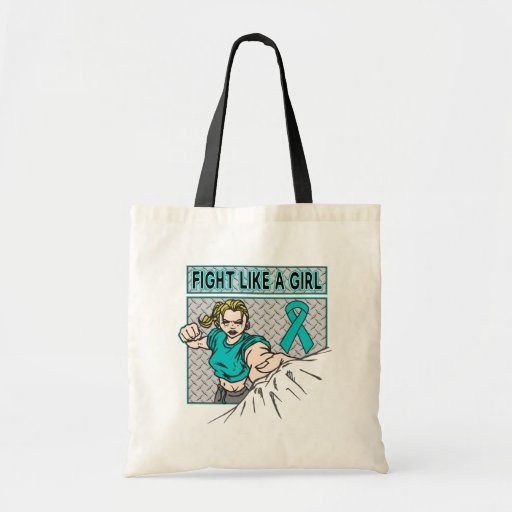 Peritoneal Cancer Fight Like A Girl Punch Canvas Bags