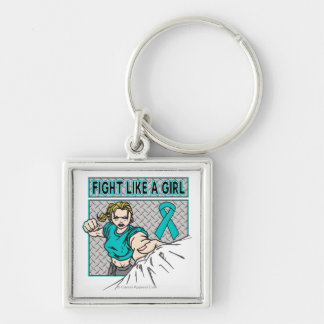 Peritoneal Cancer Fight Like A Girl Punch Keychain