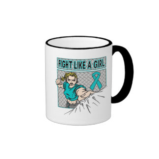 Peritoneal Cancer Fight Like A Girl Punch Mugs