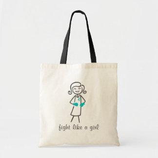 Peritoneal Cancer Fight Like A Girl (Retro) Tote Bag