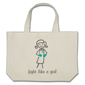 Peritoneal Cancer Fight Like A Girl Retro Canvas Bags