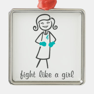 Peritoneal Cancer Fight Like A Girl (Retro) Christmas Ornaments