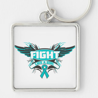 Peritoneal Cancer Fight Like a Girl Wings.png Silver-Colored Square Key Ring