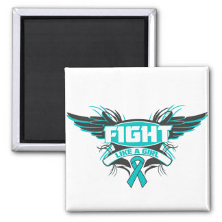 Peritoneal Cancer Fight Like a Girl Wings.png Square Magnet