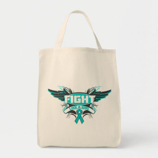 Peritoneal Cancer Fight Like a Girl Wings.png Canvas Bags