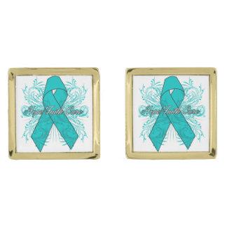 Peritoneal Cancer Flourish Hope Faith Cure Gold Finish Cufflinks