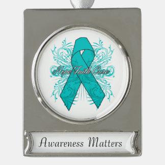 Peritoneal Cancer Flourish Hope Faith Cure Silver Plated Banner Ornament