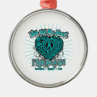 Peritoneal Cancer Heart I Fight Like A Girl Silver-Colored Round Decoration