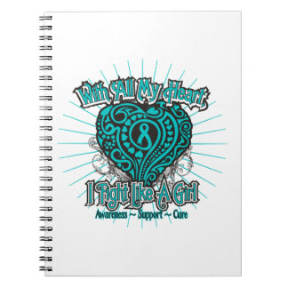Peritoneal Cancer Heart I Fight Like A Girl Spiral Notebooks