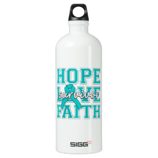 Peritoneal Cancer Hope Love Faith Survivor SIGG Traveller 1.0L Water Bottle