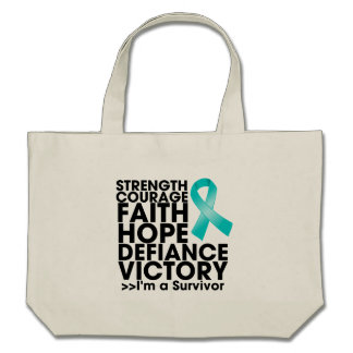 Peritoneal Cancer Hope Strength Victory Canvas Bags